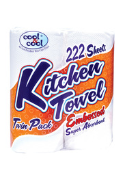 Cool & Cool Kitchen Towel Embossed, 2 Rolls x 111 Sheets x 2 Ply