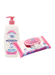 Cool & Cool 2-Pieces Baby Washing Gel + Regular Baby Wipes Set for Kids, 500ml + 40 Wipes
