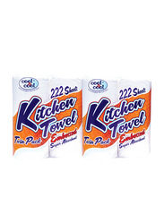 Cool & Cool Special Offer Plain Kitchen Towel, 222 Sheets x 2 Pieces, White