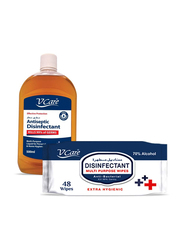 V Care Antiseptic Disinfectant with Multi Purpose Wipes Set, 500ml + 48 Sheets, 2 Pieces