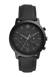 Fossil Neutra Analog Watch for Men, with Leather Band, Water Resistant and Chronograph, FS5503, Black