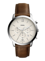 Fossil Neutra Analog Watch for Men, with Leather Band, Water Resistant and Chronograph, FS5380, Brown-Beige
