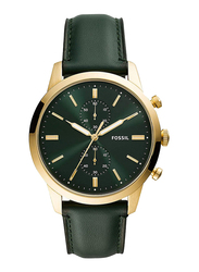 Fossil Townsman 44mm Analog Watch for Men, with Leather Band, Water Resistant and Chronograph, FS5599, Green