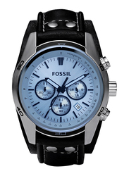 Fossil Coachman Analog Watch for Men, with Leather Band, Water Resistant and Chronograph, CH2564, Black-Blue