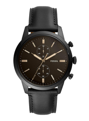 Fossil Townsman 44mm Analog Watch for Men, with Leather Band, Water Resistant and Chronograph, FS5585, Black