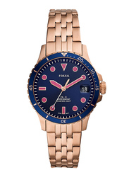 Fossil FB-01 Analog Watch for Women, with Stainless Steel Band, Water Resistant, ES4767, Rose Gold-Blue