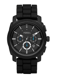 Fossil Machine Analog Watch for Men, with Silicone Band, Water Resistant and Chronograph, FS4487, Black