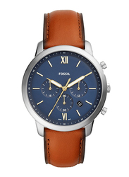 Fossil Neutra Analog Watch for Men, with Leather Band, Water Resistant and Chronograph, FS5453, Brown-Blue