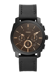 Fossil Machine Analog Watch for Men, with Leather Band, Water Resistant and Chronograph, FS5586, Black