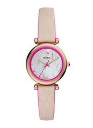 Fossil Carlie Mini Analog Watch for Women, with Leather Band, Water Resistant, ES4833, Beige-White