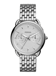 Fossil Tailor Analog Watch for Women, with Stainless Steel Band, Water Resistant and Chronograph, ES3712, Silver