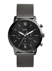 Fossil Neutra Analog Watch for Men, with Mesh Band, Water Resistant and Chronograph, FS5699, Smoke Black