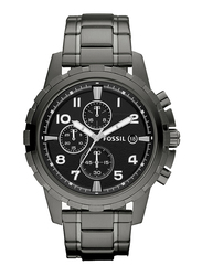Fossil Dena Analog Watch for Men, with Stainless Steel Band, Water Resistant and Chronograph, FS4721IE, Smoke Grey-Black