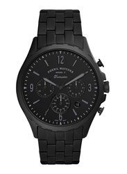 Fossil Forrester Analog Watch for Men, with Stainless Steel Band, Water Resistant and Chronograph, FS5697, Black