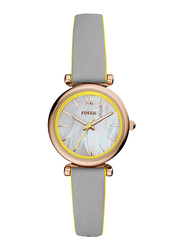 Fossil Carlie Mini Analog Watch for Women, with Leather Band, Water Resistant, ES4834, Grey-White