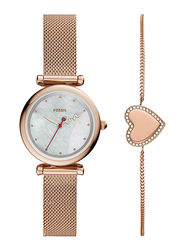 Fossil Carlie Mini Analog Watch for Women, with Stainless Steel Band, Water Resistant, ES4867SET, Rose Gold-White