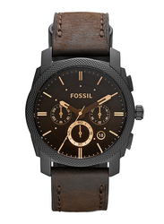 Fossil Machine Mid-Size Analog Watch for Men, with Leather Band, Water Resistant and Chronograph, FS4656IE, Brown-Black