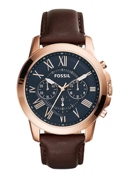 Fossil Grant Analog Watch for Men, with Leather Band, Water Resistant and Chronograph, FS5068IE, Brown-Blue