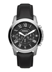 Fossil Grant Analog Watch for Men, with Leather Band, Water Resistant and Chronograph, FS4812IE, Black