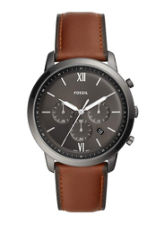 Fossil Neutra Analog Watch for Men, with Leather Band, Water Resistant and Chronograph, FS5512, Brown-Grey
