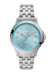 Fossil FB-01 Analog Watch for Women, with Stainless Steel Band, Water Resistant, ES4742, Silver-Blue