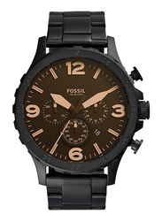 Fossil Nate Analog Watch for Men, with Stainless Steel Band, Water Resistant and Chronograph, JR1356, Black