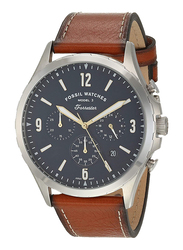 Fossil Forrester Analog Watch for Men, with Leather Band, Water Resistant and Chronograph, FS5607, Brown-Blue
