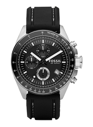 Fossil Decker Analog Watch for Men, with Silicone Band, Water Resistant and Chronograph, CH2573IE, Black