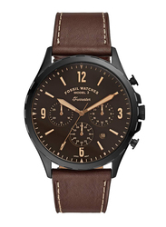 Fossil Forrester Analog Watch for Men, with Leather Band, Water Resistant and Chronograph, FS5608, Brown-Black