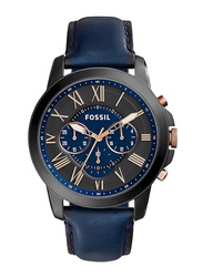 Fossil Grant Analog Watch for Men, with Leather Band, Water Resistant and Chronograph, FS5061, Blue