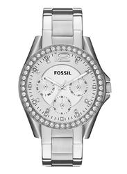 Fossil Riley Analog Watch for Women, with Stainless Steel Band, Water Resistant and Chronograph, ES3202, Silver