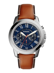 Fossil Grant Analog Watch for Men, with Leather Band, Water Resistant and Chronograph, FS5210IE, Brown-Blue
