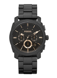 Fossil Machine Mid-Size Analog Watch for Men, with Stainless Steel Band, Water Resistant and Chronograph, FS4682IE, Black