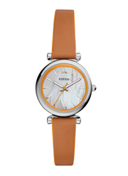 Fossil Carlie Mini Analog Watch for Women, with Leather Band, Water Resistant, ES4835, Brown-White