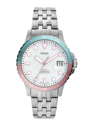 Fossil FB-01 Analog Watch for Women, with Stainless Steel Band, Water Resistant, ES4741, Silver-Black