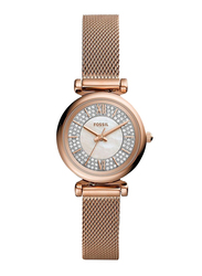 Fossil Carlie Mini Analog Watch for Women, with Stainless Steel Band, Water Resistant, ES4836, Rose Gold-White