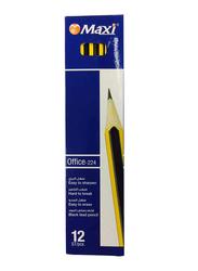 Maxi 12-Piece Office 224 HB Pencil Set, Black/Yellow