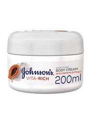 Johnson's Baby 200ml Vita-Rich Smoothing Body Cream with Papaya Extract for Kids