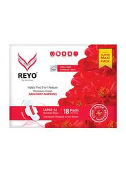 Reyo Normal Flow 240mm Sanitary Napkins, Large, 18 Pads