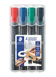 Staedtler 4-Piece Lumocolor 350 WP4 Permanent Markers Set, Multicolor
