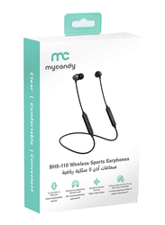 My Candy BHS-110 Wireless Sports In-Ear Headphones with Mic, Black