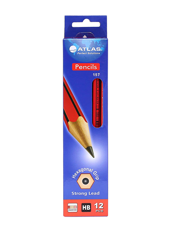 Atlas 12-Piece HB Pencils with Eraser Set, Red