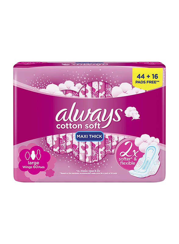 Always Maxi Thick Cotton Soft Sanitary Pads, Large, 60 Pads