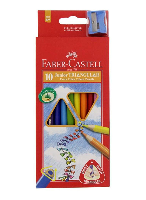 Faber-Castell 10-Piece Junior Triangular Extra Thick Colored Pencil Set with Sharpener, Multicolor