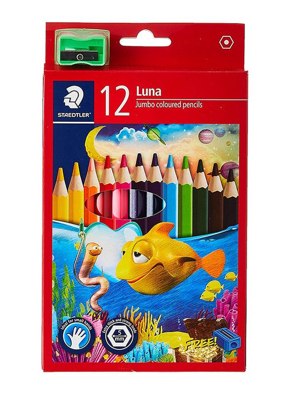 Staedtler 12-Piece Luna Jumbo Coloring Pencils with Sharpener, Multicolor
