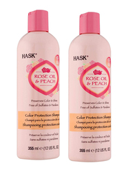 Hask Rose Oil & Peach Color Protection Shampoo Set for All Hair Types, 2 Pieces