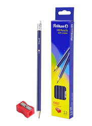 Pelikan 12-Piece HB Pencils with Eraser and Sharpener Set, Blue