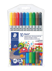 Staedtler 10-Piece Noris Club Double Ended Fiber-Tip Sketch Pen Set, Multicolor