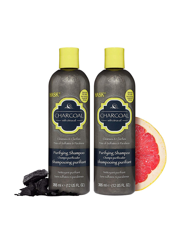 Hask Charcoal with Citrus Oil Clarifying 2 in1 Shampoo and Conditioner Set for All Hair Types, 2 Pieces