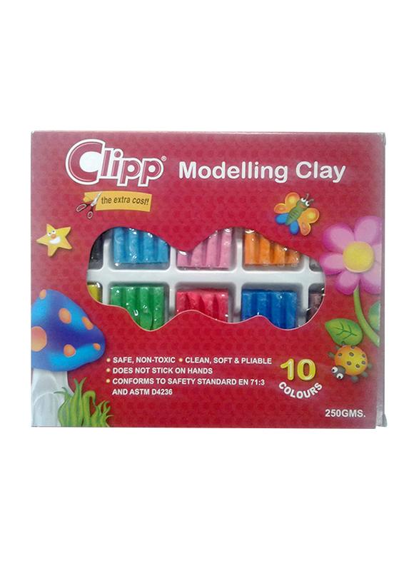 Clipp Modelling Clay, 10 Colors, 250gm, Multicolor